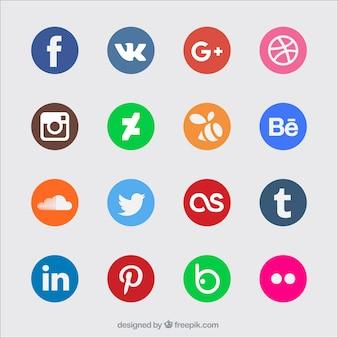 Ícones de mídia social coloridas