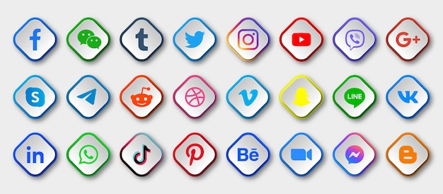 Ícones de mídia social com botões redondos modernos