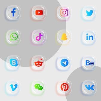 Ícones de mídia social com efeito de vidro transparente