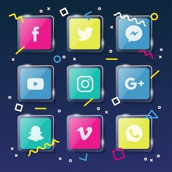Ícones de mídia social com elementos memphis