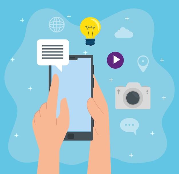 Ícones de mídia social, com mão usando design de ilustração de smartphone