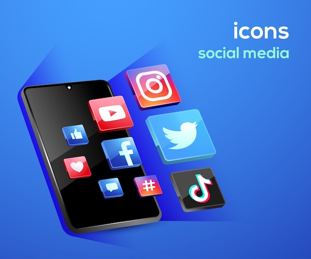 Ícones de mídia social com símbolo de smartphone