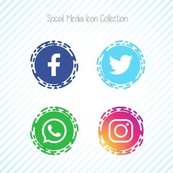 Ícones de mídia social criativa facebook