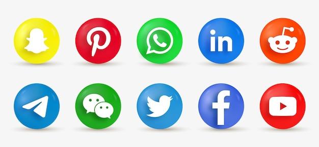 Ícones de mídia social de botão redondo 3d - logotipo de elipse em estilo moderno