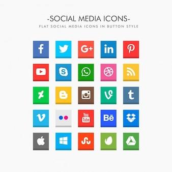 Ícones de mídia social do bloco liso no estilo de botão