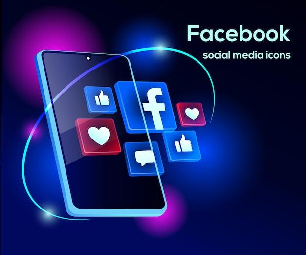 Ícones de mídia social do facebook com símbolo de smartphone