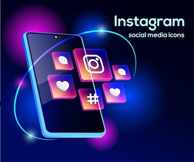 Ícones de mídia social do instagram com símbolo de smartphone