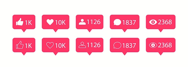 Ícones de mídia social do vetor. ícone de gosto e comentário.