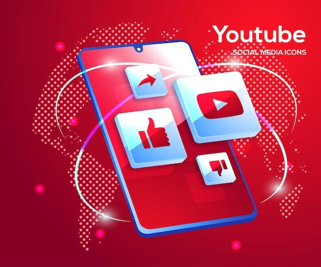 Ícones de mídia social do youtube com símbolo de smartphone