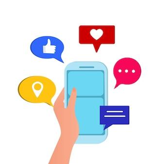 Ícones de mídia social e fundo de vetor de telefone celular