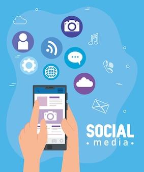 Ícones de mídia social e mãos usando design de ilustração de smartphone