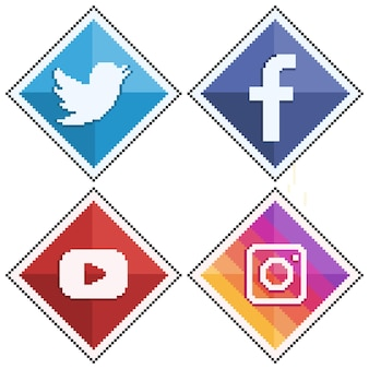 Ícones de mídia social e redes sociais em pixel art twitter facebook youtube e instagram 8bit st