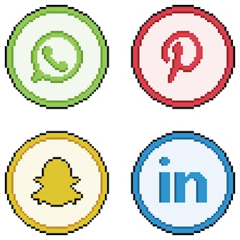 Ícones de mídia social e redes sociais em pixel art