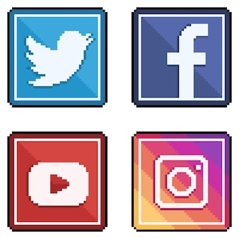 Ícones de mídia social e redes sociais no estilo pixel art twitter, facebook, youtube e instagram 8bit