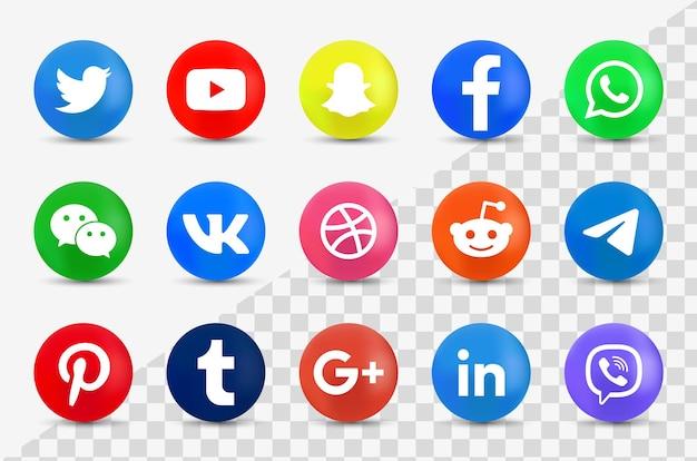 Ícones de mídia social em botão moderno - logotipos redondos em 3d