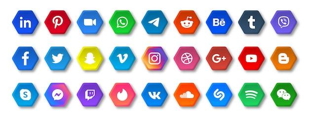 Ícones de mídia social em botões poligonais com logotipos arredondados