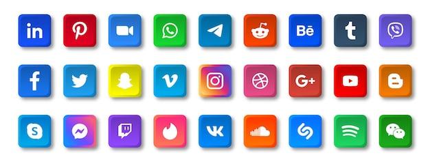 Ícones de mídia social em botões quadrados com logotipos arredondados