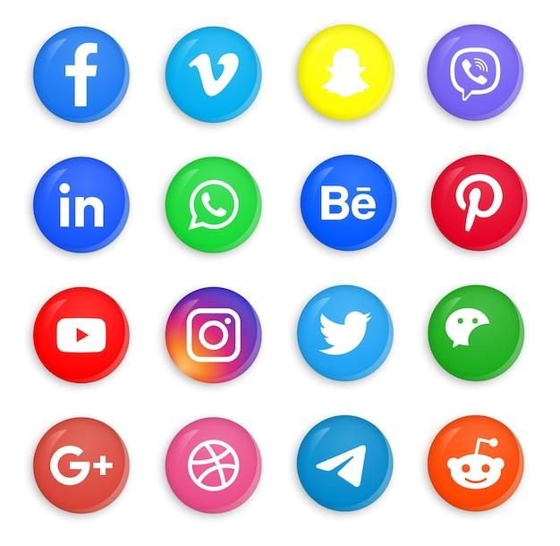 Ícones de mídia social em botões redondos 3d modernos