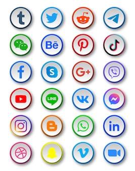 Ícones de mídia social em botões redondos modernos