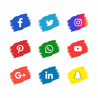 Ícones de mídia social em estilo de traçado de pincel