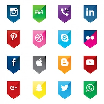 Ícones de mídia social em formas de seta