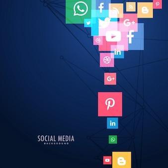 Ícones de mídia social em fundo azul
