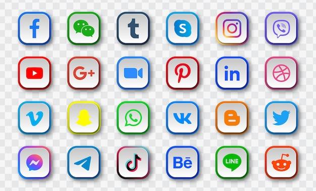 Ícones de mídia social em quadrado com botões modernos de cantos arredondados