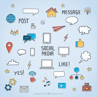Ícones de mídia social esboçado