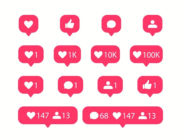 Ícones de mídia social. ícone de gosto e comentário.