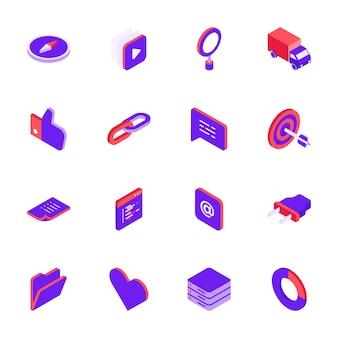 Ícones de mídia social isométrica definir estilo 3d