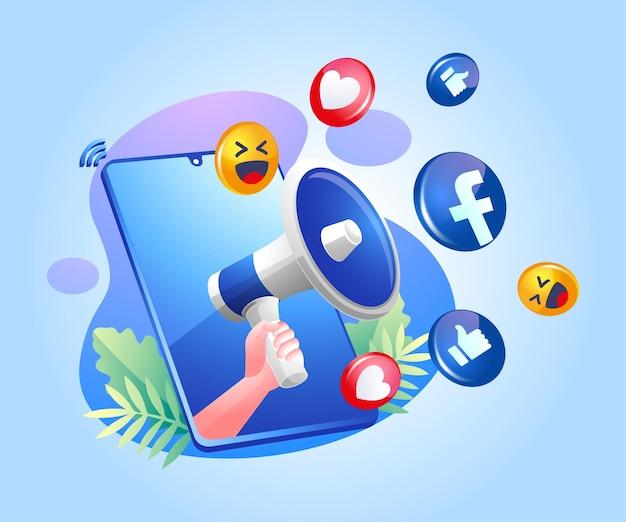 Ícones de mídia social megafone e facebook