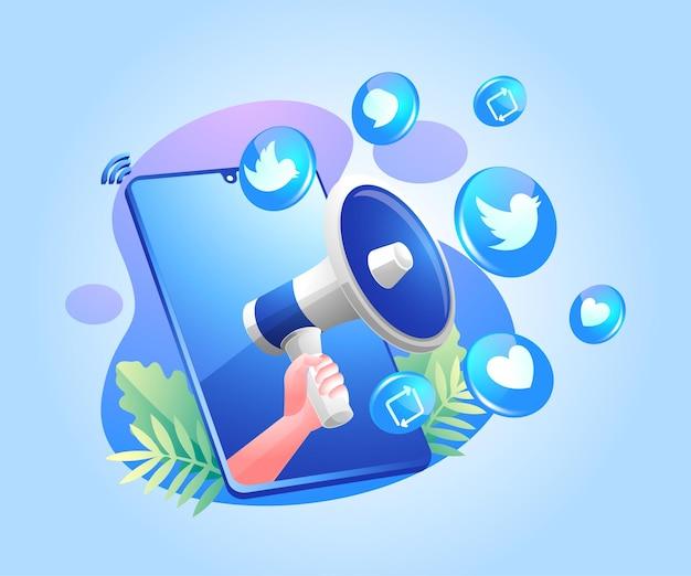 Ícones de mídia social megafone e twitter