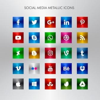Ícones de mídia social meteallic