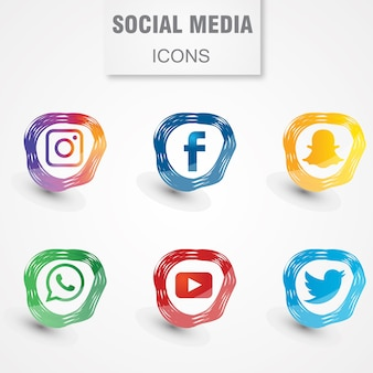 Ícones de mídia social moderna
