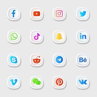 Ícones de mídia social na cor branca