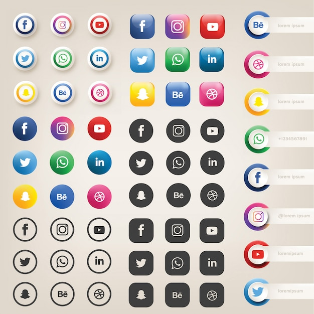 Ícones de mídia social ou logotipos