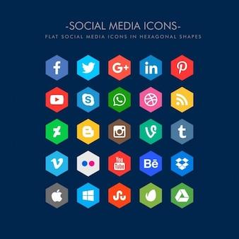 Ícones de mídia social plana em forma hexagonal