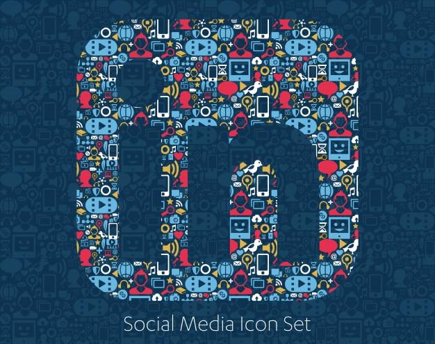 Ícones de mídia social, rede, conceito de computador.