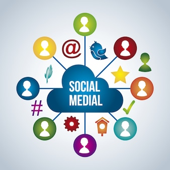 Ícones de mídia social sobre ilustração vetorial de fundo azul