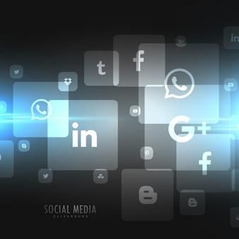 Ícones de mídia social techno preto