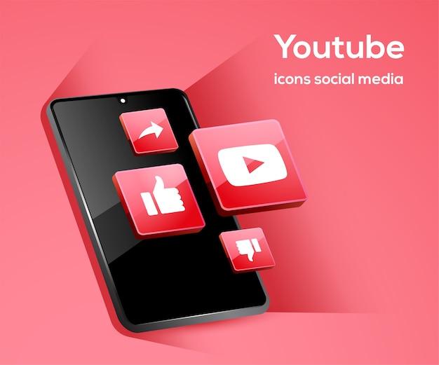 Ícones de mídia social tiktiok com símbolo de smartphone