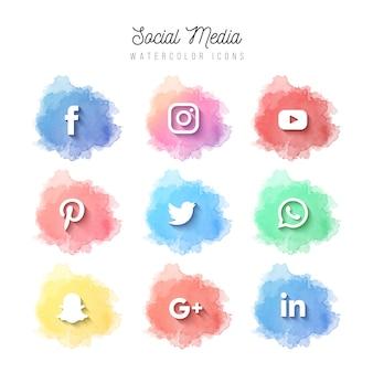 Ícones de mídias sociais em aquarela