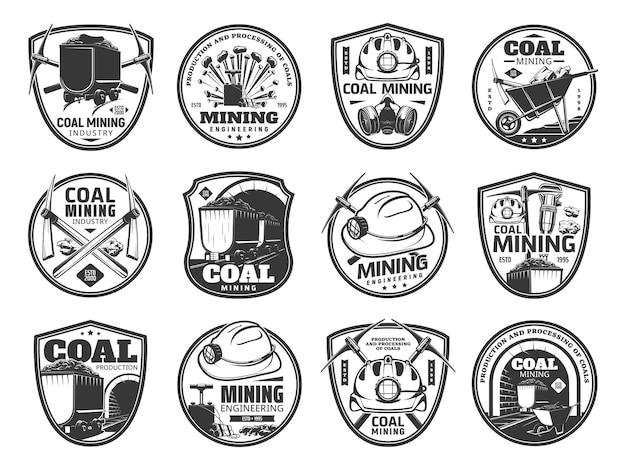 Ícones de mineração de carvão. indústria de mineração, produção de combustível fóssil e símbolos vintage de engenharia de mineração ou emblemas de vetor com picareta de minerador, capacete e máscara de gás, britadeira, carrinho de mina com carvão