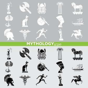 Ícones de mitologia. conjunto de linhas.