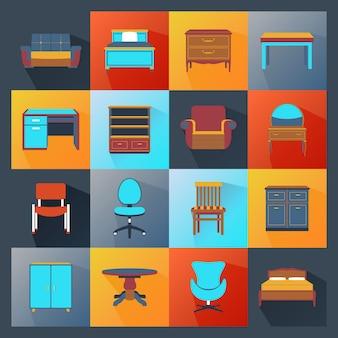Ícones de mobília planas