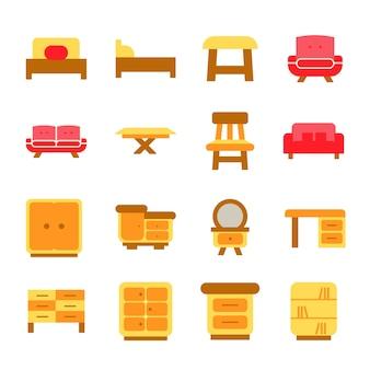 Ícones de mobiliário conjunto design de interiores ilustração do logotipo vecor