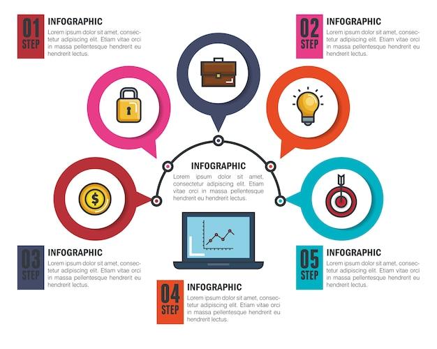 Ícones de modelo de infográfico de negócios