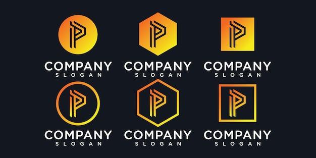 Ícones de modelo de logotipo abstrato letra p inicial para negócios de moda automotiva financeira