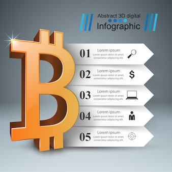 Ícones de modelo e marketing de design de infográfico de bitcoin.