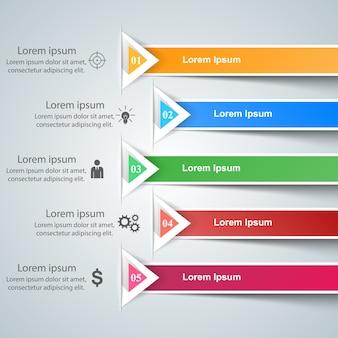 Ícones de modelo e marketing de projeto 3d infográfico